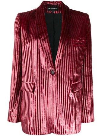 Pink Ann Demeulemeester Striped Textured Blazer   Farfetch.com