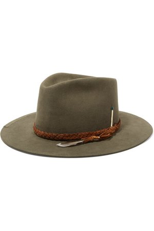 Nick Fouquet | El Guantanamo feather-embellished suede-trimmed rabbit-felt fedora | NET-A-PORTER.COM