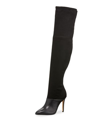 Neiman Marcus Donny Suede & Leather Over-The-Knee Boots