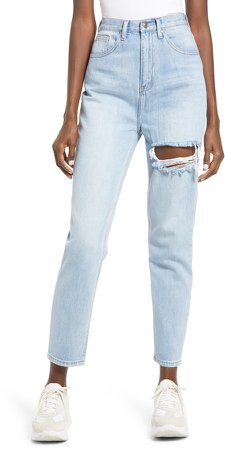 Ripped High Waist Ankle Jeans