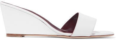 Billie Leather Wedge Sandals - White