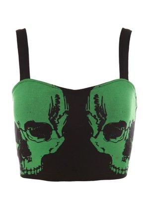 Black unlined longline bra with green skull design.