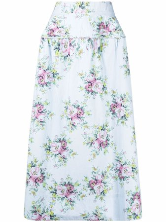 Shop GANNI floral print high-waisted skirt with Express Delivery - FARFETCH