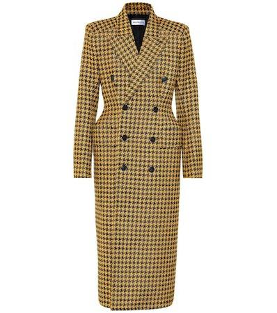 Houndstooth wool-blend coat