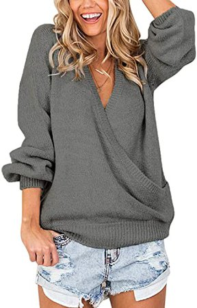 LookbookStore Women's Knit Long Sleeve Faux Wrap Surplice V Neck Sweater Top at Amazon Women's Clothing store