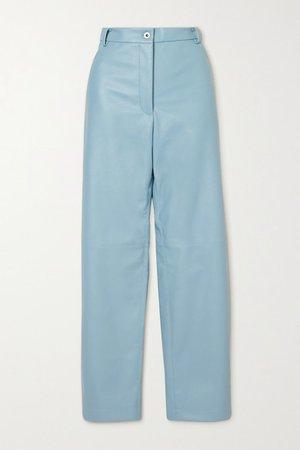 Hailey Vegetarian Leather Straight-leg Pants - Blue