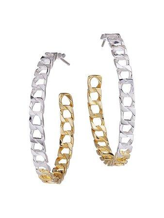 Jennifer Zeuner Jewelry Billie 14K Goldplated & Sterling Silver Square Link Hoop Earrings   SaksFifthAvenue