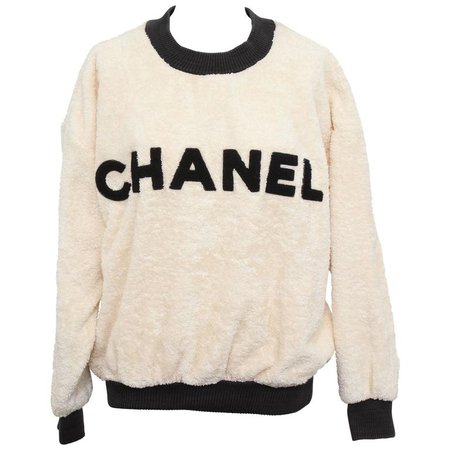 Vintage Chanel Sweat Shirt Sweater with Iconic CC at 1stdibs