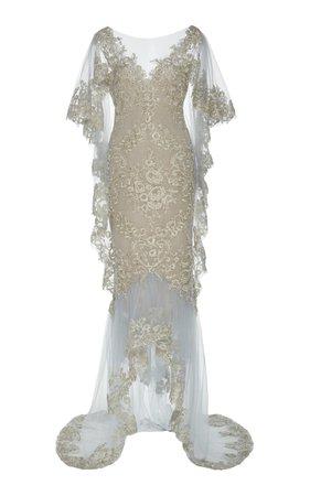 Draped Corded Lace Gown by Marchesa | Moda Operandi