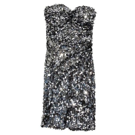 DOLCE & GABBANA Strapless Cocktail Dress Embroidered with Silver Sequins