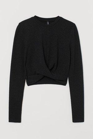Glittery Top - Black/glittery - Ladies   H&M US