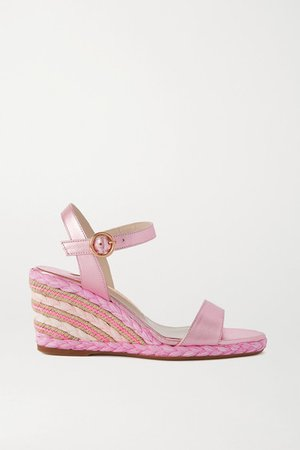 Lucita Metallic Leather Espadrille Wedge Sandals - Pink