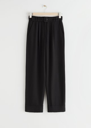 Belted High Waist Trousers - Black - Trousers - & Other Stories