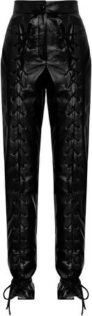 MATERIEL Lace-Up Faux Leather Straight-Leg Pants