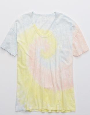 Aerie Tie Dye Boyfriend Voop Oversized T-Shirt multi