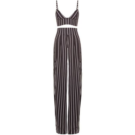 Black & White Striped Two Piece Jumpsuit