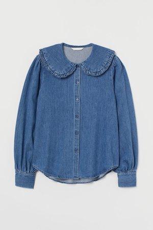 Cotton Denim Blouse - Blue