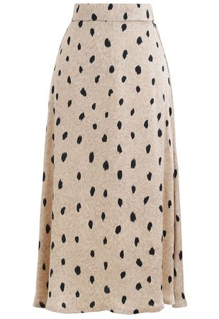 Spotted Dots Midi Slip Skirt - Retro, Indie and Unique Fashion