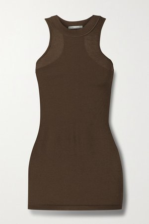 Ribbed Organic Cotton-jersey Tank - Light brown