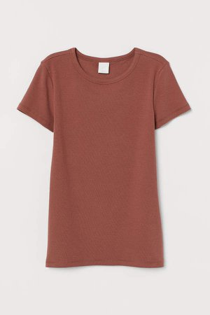 Ribbed Cotton T-shirt - Orange