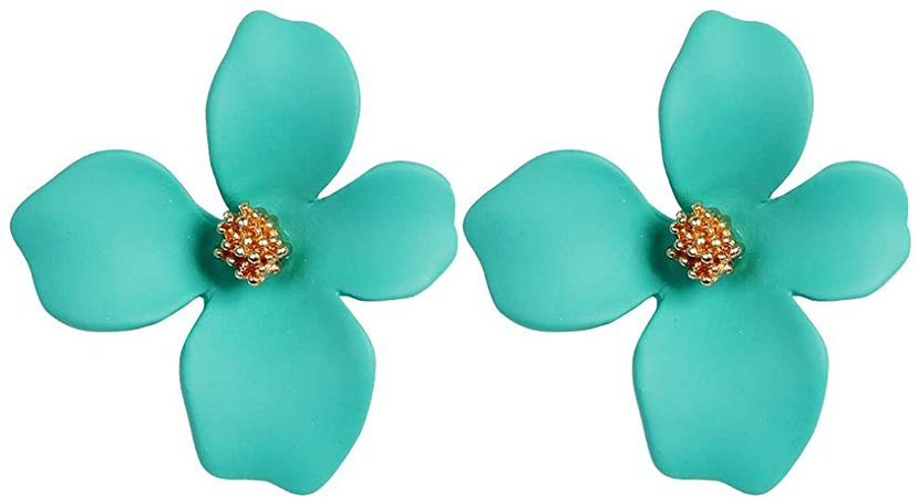Amazon.com: Boho Stud Earrings for Women - Chic Flower Statement Earrings with Gold Flower Bud, Great for Sister, Mom, Lover and Friends (White): Jewelry