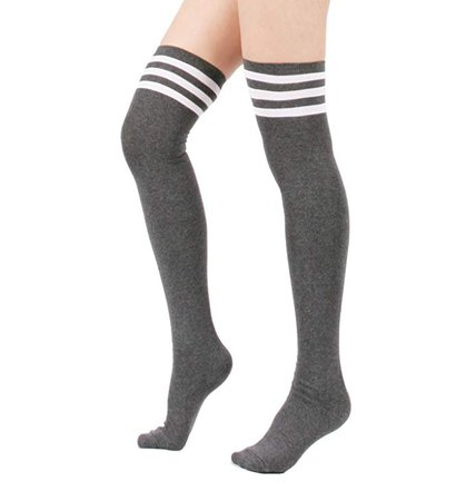 Zando Women Triple Stripe Over the Knee High Socks, 3Pair -White/Black/Gray, One Size : XS to M at Amazon Women's Clothing store: