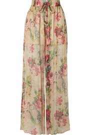 Zimmermann | Melody cropped tie-front floral-print silk-crepon top | NET-A-PORTER.COM