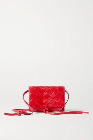 Mini Intrecciato Leather Shoulder Bag - Red