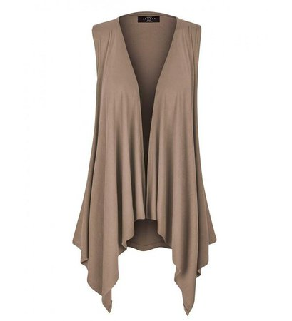 MBJ Womens Lightweight Sleeveless Draped Open Cardigan - Made in USA - Wsk1071_taupe - CB12CQFO7ST