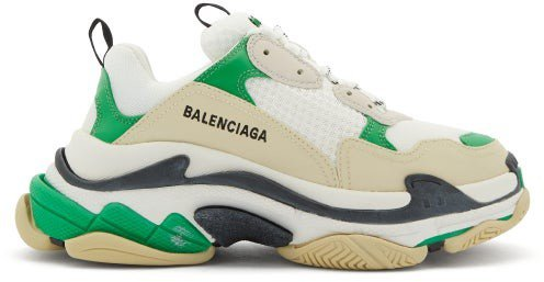Triple S Leather And Mesh Trainers - Green White