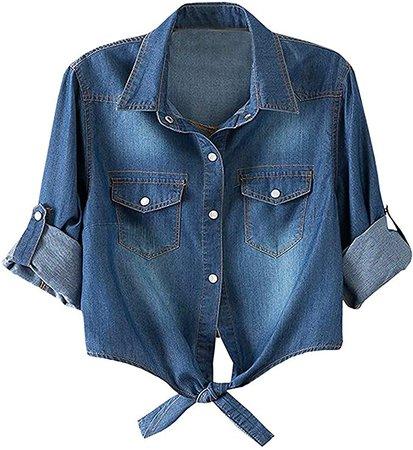 LATUD Women's 3/4 Sleeve Crop Top Tie Front Denim Shirt at Amazon Women's Clothing store