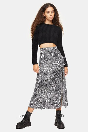 Zebra Print Ruffle Maxi Skirt