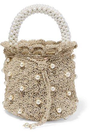 Suryo   Sac à main en crochet métallisé à perles synthétiques Bucket of Shimmer   NET-A-PORTER.COM