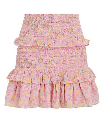 LoveShackFancy Sicily Smocked Floral Mini Skirt   INTERMIX®