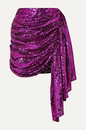 Fuchsia Draped sequined tulle mini skirt | 16ARLINGTON | NET-A-PORTER