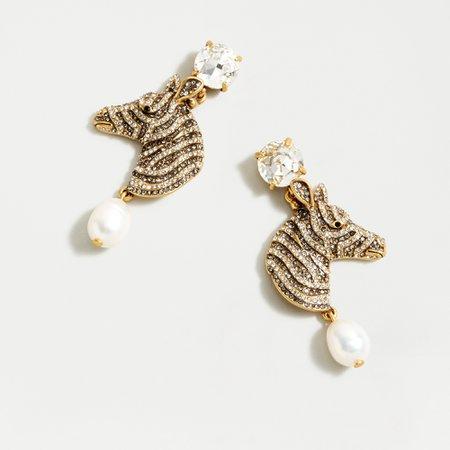 J.Crew: Pavé Zebra Pearl Drop Earrings