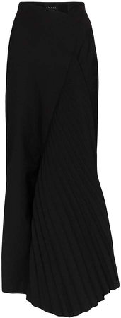 Asymmetric Pleat Detail Midi Skirt