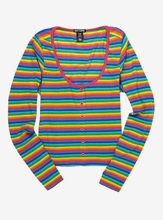 Rainbow Stripe Girls Ribbed Long-Sleeve T-Shirt