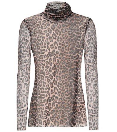 Leopard-printed mesh top