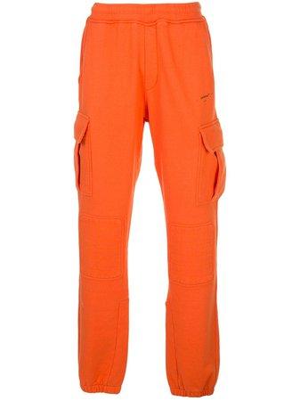 Orange Off-White Combat-Style Track Pants | Farfetch.com