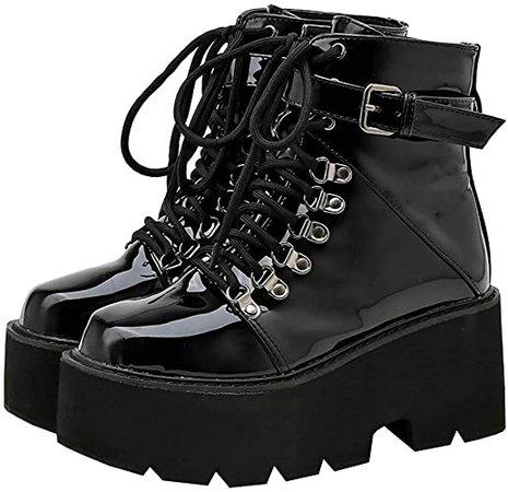 Amazon.com   Parisuit Women's Goth Platform Patent Ankle Boots Chunky High Heel Lace Up Combat Boots Punk Buckle Shoes-Black 1 Size 4   Ankle & Bootie