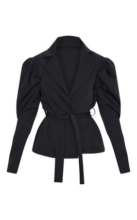 Black Puff Sleeve Belted Blazer   PrettyLittleThing USA