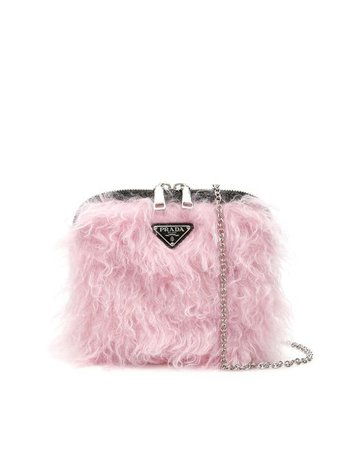 Prada Furry Mini Bag in Black,Pink (Pink) - Save 4% - Lyst