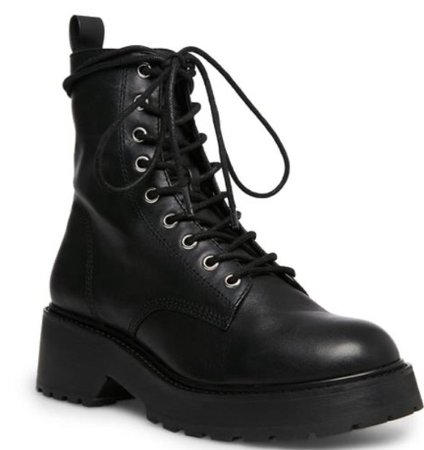 Black Leather Flat Boot