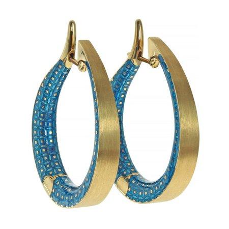 Mousson Atelier Blue Topaz Colored Enamel 18 Karat Yellow Gold Kaleidoscope Hoop Earrings