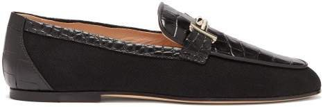 Double T Bar Crocodile Effect Leather Loafers - Womens - Black