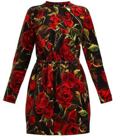 Rose Print Velvet Dress - Womens - Black Multi