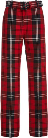 Marc Jacobs Plaid Wool-Blend Straight-Leg Pants