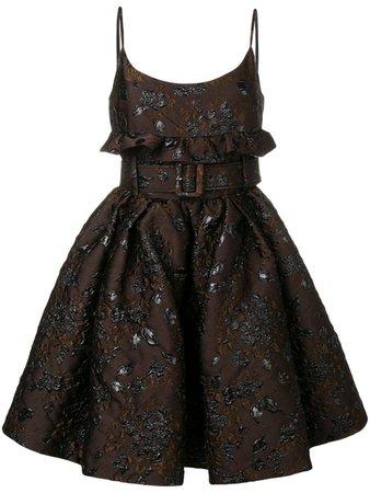 Prada Floral Embroidered Belted Dress   Farfetch.com