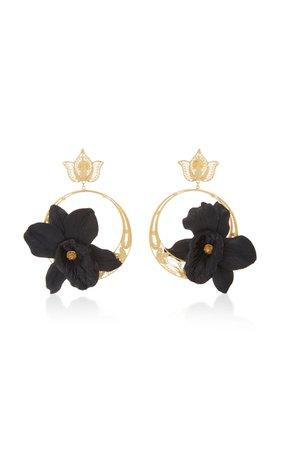 Black Orchid Suzanna Hoops by Mallarino | Moda Operandi